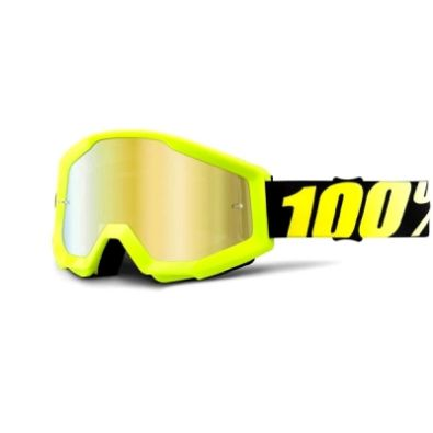 Μάσκα 100% Strata Neon Yellow Mirror Gold Lens